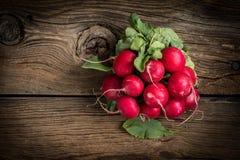 Large bunch of fresh radish. Large bunch of fresh radish on wooden boards, closeup Stock Photo