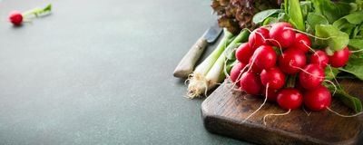 Large bunch of fresh raw radish. Green onions and lettuce. Healthy ingredients for salad on old wooden cutting board with copy space. Banner Stock Photo