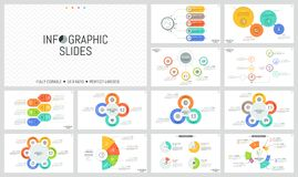 Large bundle of minimal infographic design templates. Diagrams with multicolored round and sectoral elements, thin line. Icons and text boxes. Vector Royalty Free Stock Image