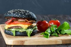 Large burger with a black buns Royalty Free Stock Photos