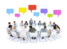 Large business meeting speech bubbles concept Stock Images