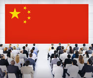 Large Business Presentation with Flag of China Stock Photo