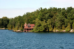 Large cabin on a lake Stock Photo