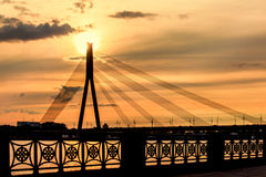 A large Cable-stayed bridge in Riga Royalty Free Stock Photography