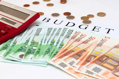 Large calculator on a lot of Euro cash Stock Photography