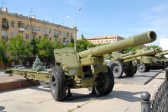 Large-caliber army gun - the Howitzer. Royalty Free Stock Images