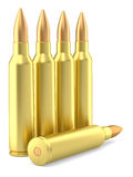 Large caliber rifle ammunition cartridges on white Royalty Free Stock Image
