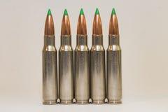 5 Large Caliber Rifle Bullets Stock Photo