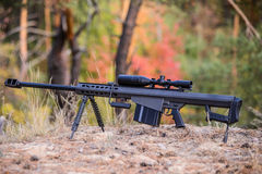 Large caliber sniper rifle with telescopic sight Stock Images