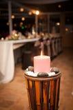 Large Candle with Bridal Table Wedding Background Stock Image