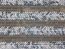 Large car parking. View from above. Large car parking. Aerial view. Industrial background Royalty Free Stock Photo