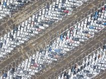 Large car parking, aerial view. Large car parking. View from above. Industrial background Royalty Free Stock Images