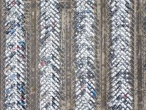 Large car parking. View from above. Industrial background. Large car parking. Aerial view. Industrial background Stock Photo