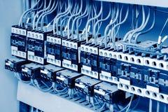 Factory control box. Large car production line control box close - up stock image