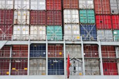 Large cargo container ship in Hamburg harbour Royalty Free Stock Images