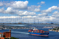 Large cargo container ship passing through Bosporus - istanbul / turkey Royalty Free Stock Photography