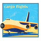Large cargo plane on takeoff. Stylized as old poster or card vector illustration of a large cargo plane on takeoff Royalty Free Stock Photos