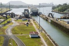 Cargo ship entering lock at Panama Canal Stock Photography