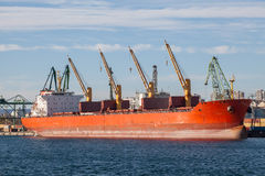Large cargo ship in a dock Stock Images