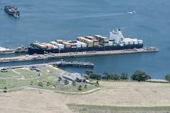 Large cargo ship exiting Gatun Locks, Panama Canal. Panama Royalty Free Stock Image