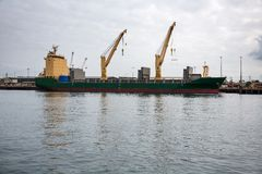 Large cargo ship load containers Royalty Free Stock Images