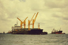 Large cargo ship over the sea Royalty Free Stock Images
