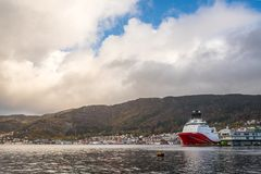 Cargo ships in Bergen harbour Royalty Free Stock Photo