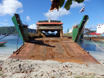 A large cargo vessel in the caribbean. Royalty Free Stock Images