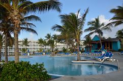 Large Caribbean Hotel complex with Pool Stock Photography