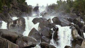 Cascade mountain waterfall. stock video