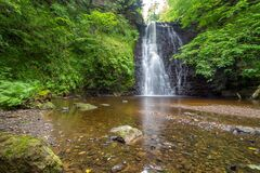 Free Large Cascading Waterfall Tumbling Into A Peaceful Pool. Falling Foss Waterfall, Yorkshire Dales Stock Image - 188139161