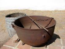 Large cast iron open cauldron Stock Image