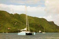 A large catamaran at anchor Royalty Free Stock Photography