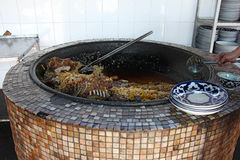 Large cauldron with the ready pilaf Royalty Free Stock Images