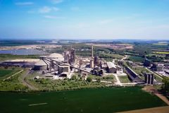 Large cement plant. The production of cement on an industrial scale in the factory.  royalty free stock image