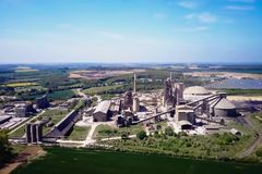 Large cement plant. The production of cement on an industrial scale in the factory.  stock photos