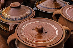Large ceramic pots, traditional Romanian stock image