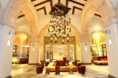 The large chandelier at lobby in luxury hotel Royalty Free Stock Image