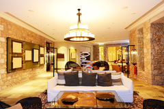 The large chandelier at lobby in luxury hotel Royalty Free Stock Images