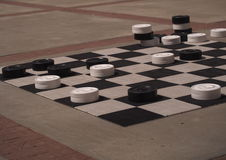 Large Checker Game With Checkers Stock Photo
