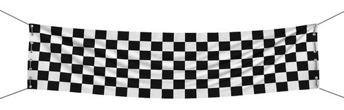 Large Checkered Flag with fabric surface texture Stock Photography