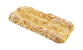 Large cheese danish in tinfoil tray on a white background Royalty Free Stock Images