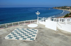 Large chess board on overlook of Main Beach, Laguna Beach. Stock Photo
