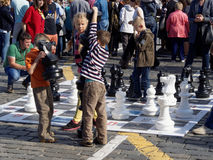 On the large chess board Royalty Free Stock Photography
