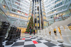 Large chess and a Christmas tree in Main office Rosbank Stock Photo