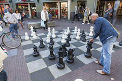 Large chess game on the streets of Amsterdam Royalty Free Stock Images