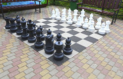 Large chess pieces in the park Stock Photo