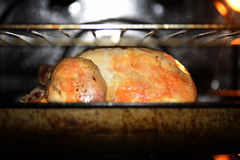 Large chicken roasting in oven Stock Photo
