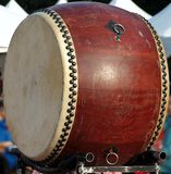 Large Chinese Wooden Drum royalty free stock photo