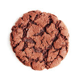 Large chocolate fudge cookie, isolated on a white background. Overhead view Royalty Free Stock Photos